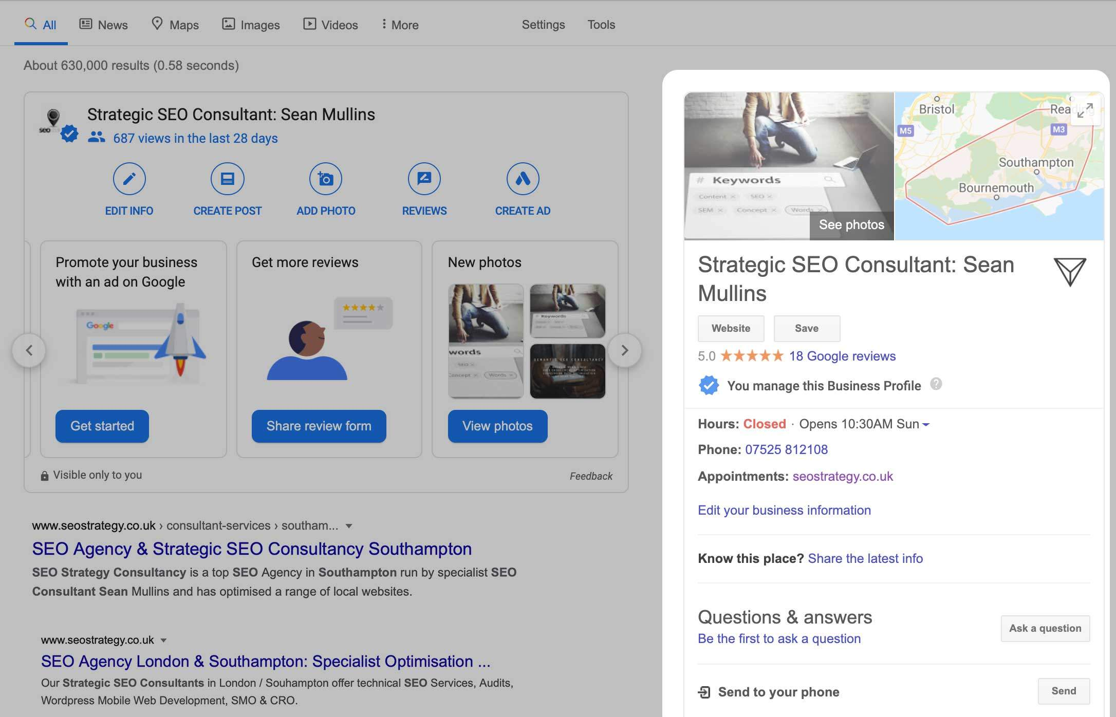 Example of a Google My Business Listing